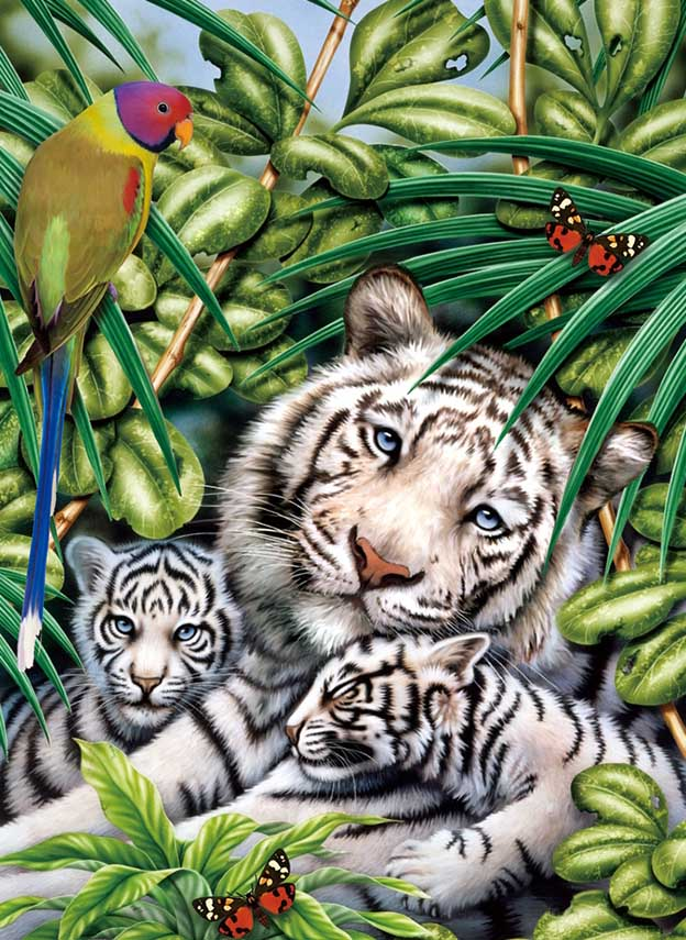 White Tiger Family 2 Tigers Jigsaw Puzzle