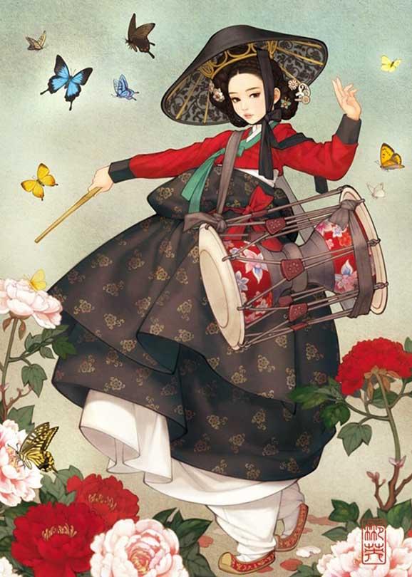 Mock Shoes Woman Asian Art Jigsaw Puzzle