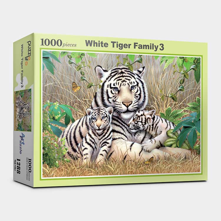 White Tiger Family III Tigers Jigsaw Puzzle