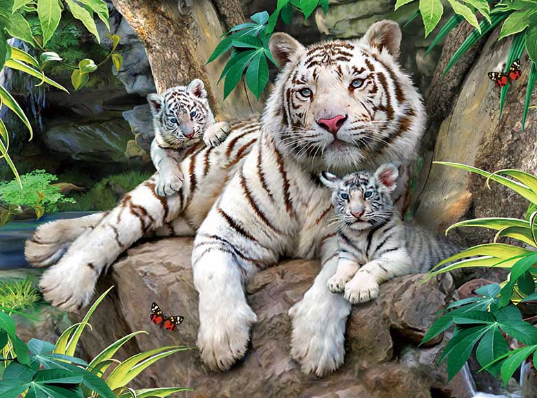 The Roar Of A White Tiger Tigers Jigsaw Puzzle