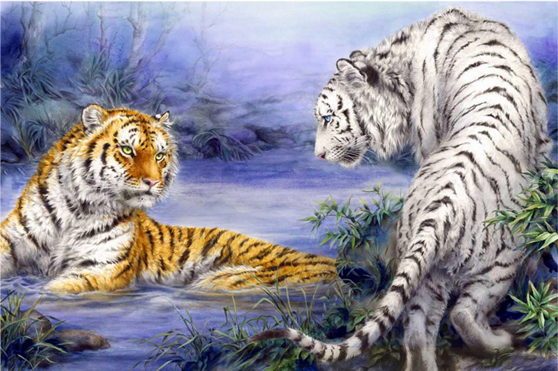 Tan-Yellow Tigers Meet Tigers Jigsaw Puzzle