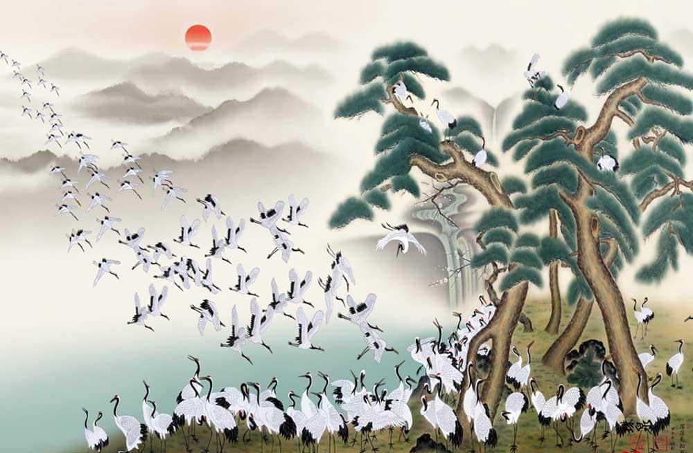 White Cranes Birds Jigsaw Puzzle