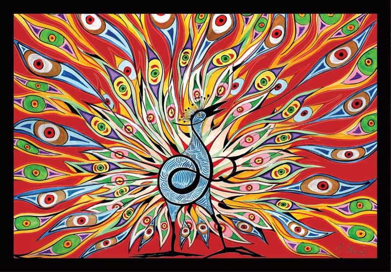 Alex Beard - Red Peacock Abstract Non-Interlocking Puzzle