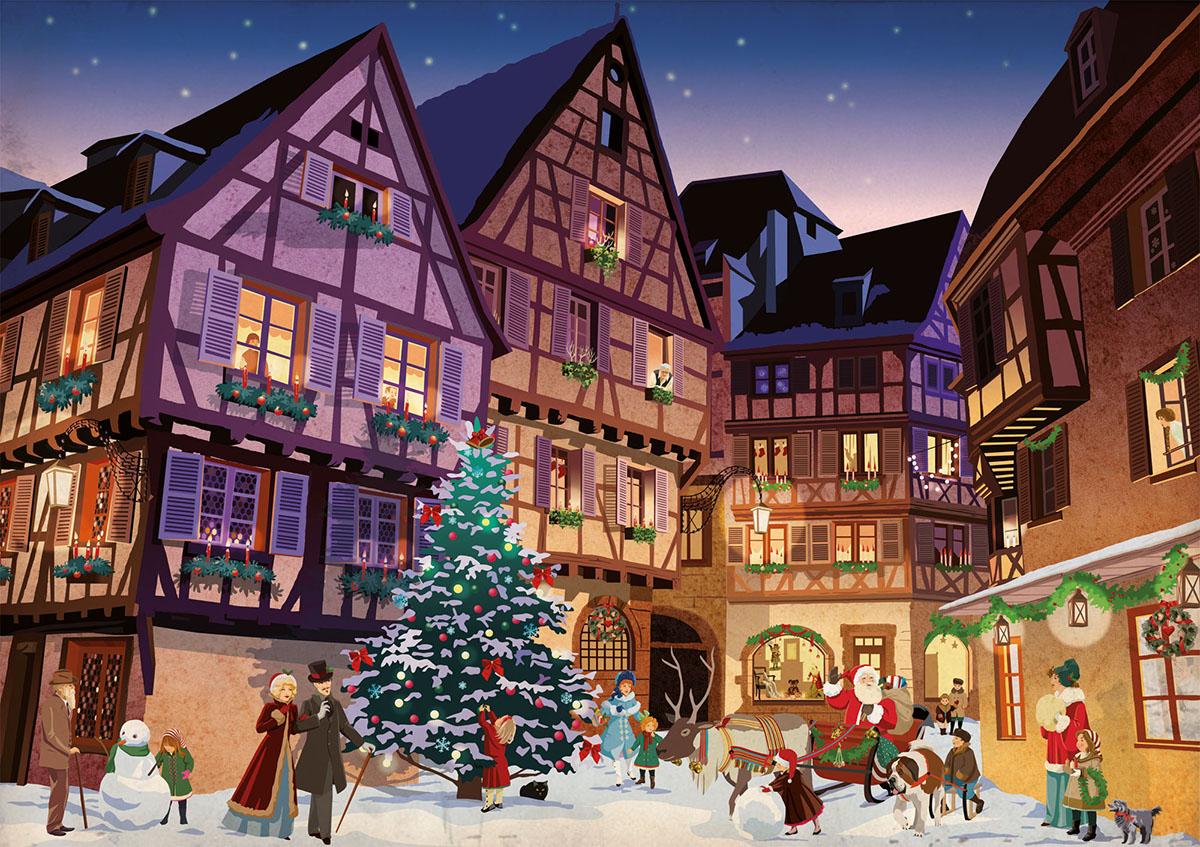 Christmas Village.Vintage Christmas Village