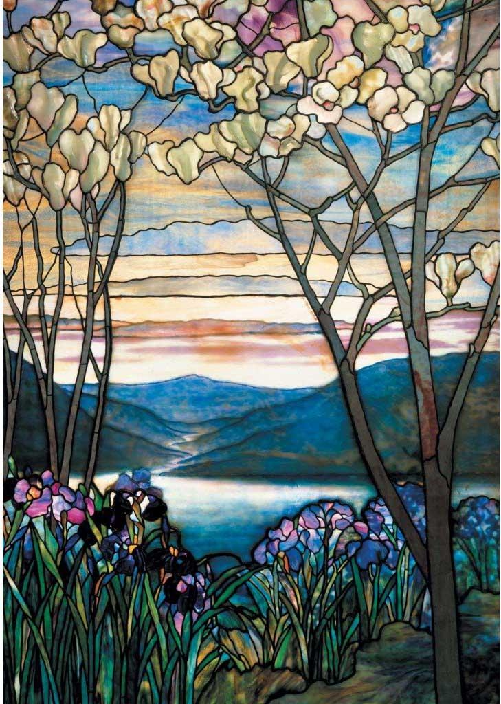 Tiffany Magnolias & Irises Flowers Jigsaw Puzzle