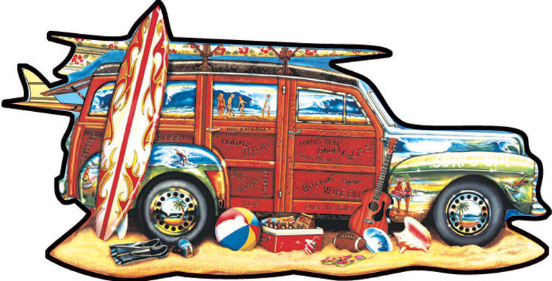 Surfin' Woodie Beach Jigsaw Puzzle