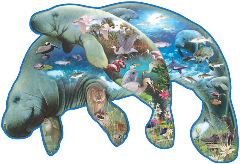 Manatees Under The Sea Shaped Puzzle