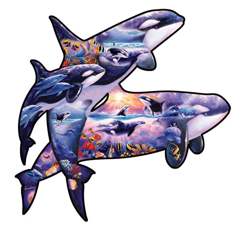 Orcas at Play Marine Life Jigsaw Puzzle