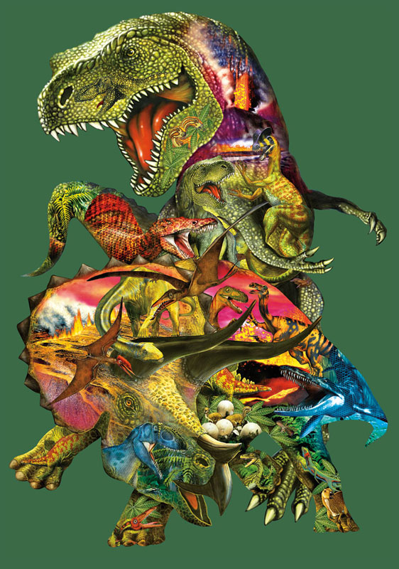 T Rex Attack Dinosaurs Jigsaw Puzzle