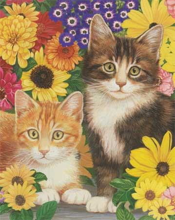 Kitties & Flowers Cats Jigsaw Puzzle