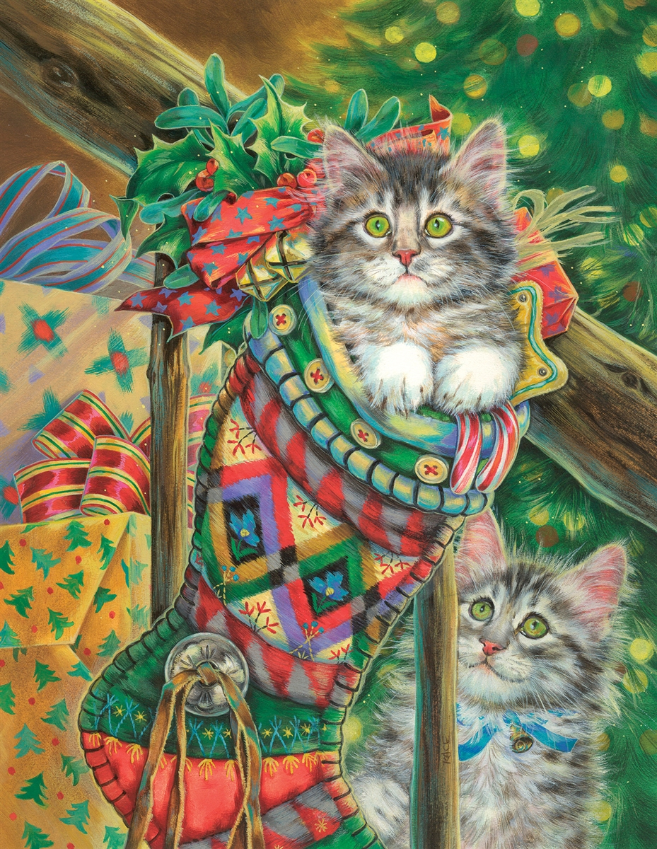 Stocking Curiosity Cats Jigsaw Puzzle