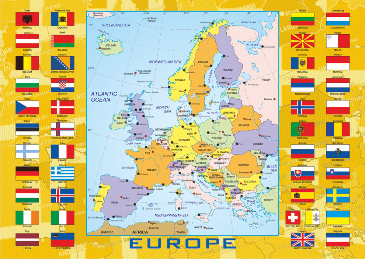 Europe With Flags Maps / Geography Jigsaw Puzzle
