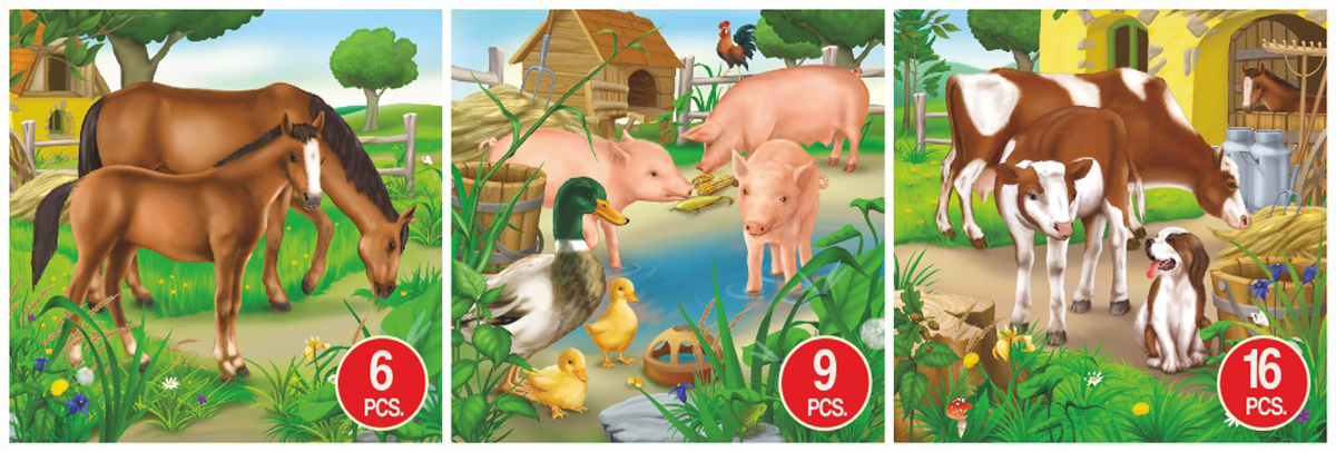 Horse, Pig, & Cow Animal 3-Pack Farm Animals Jigsaw Puzzle