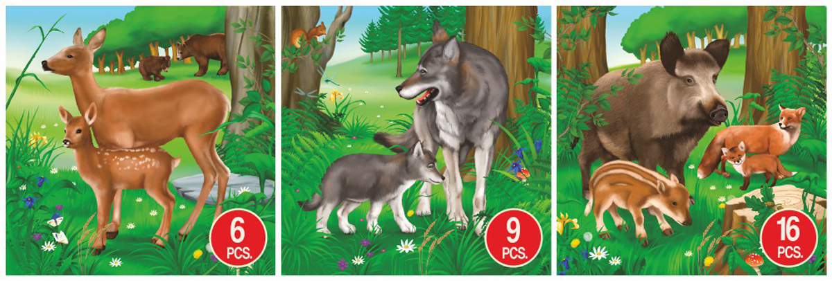 Deer, Wolf, & Boar Animal 3-Pack Wolves Jigsaw Puzzle