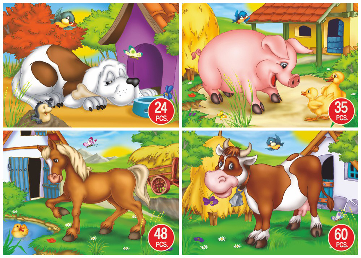 Dog, Pig, Horse & Cow 4-Pack Dogs Jigsaw Puzzle