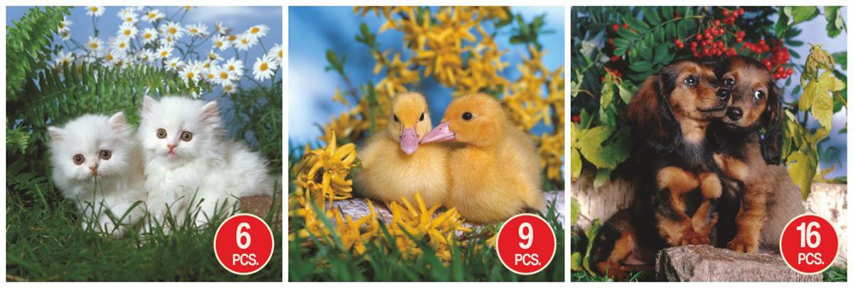 Kittens, Ducks, & Puppies 3-Pack Animals Jigsaw Puzzle