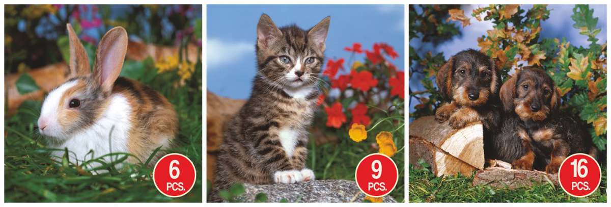 Bunny, Kitten, & Puppies 3-Pack Animals Jigsaw Puzzle