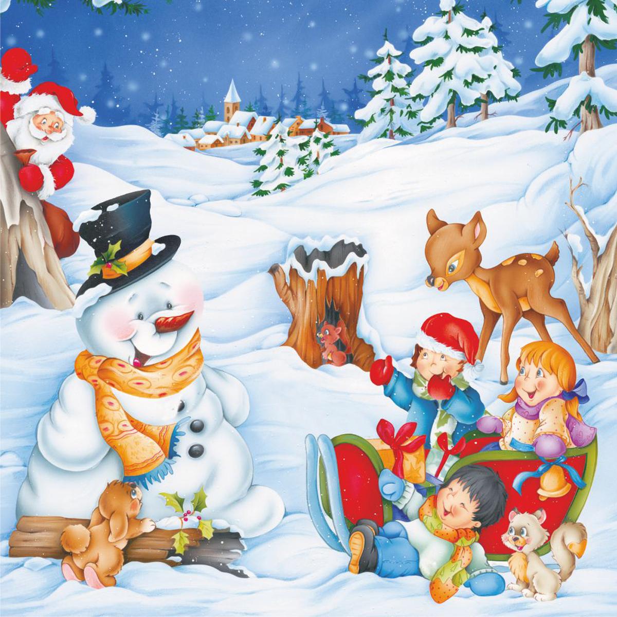 Snowman Kids Cartoon Snowman Jigsaw Puzzle