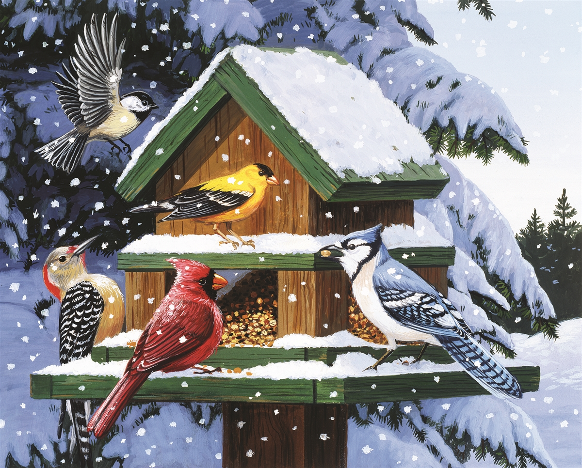 Winter Feeder Birds Jigsaw Puzzle