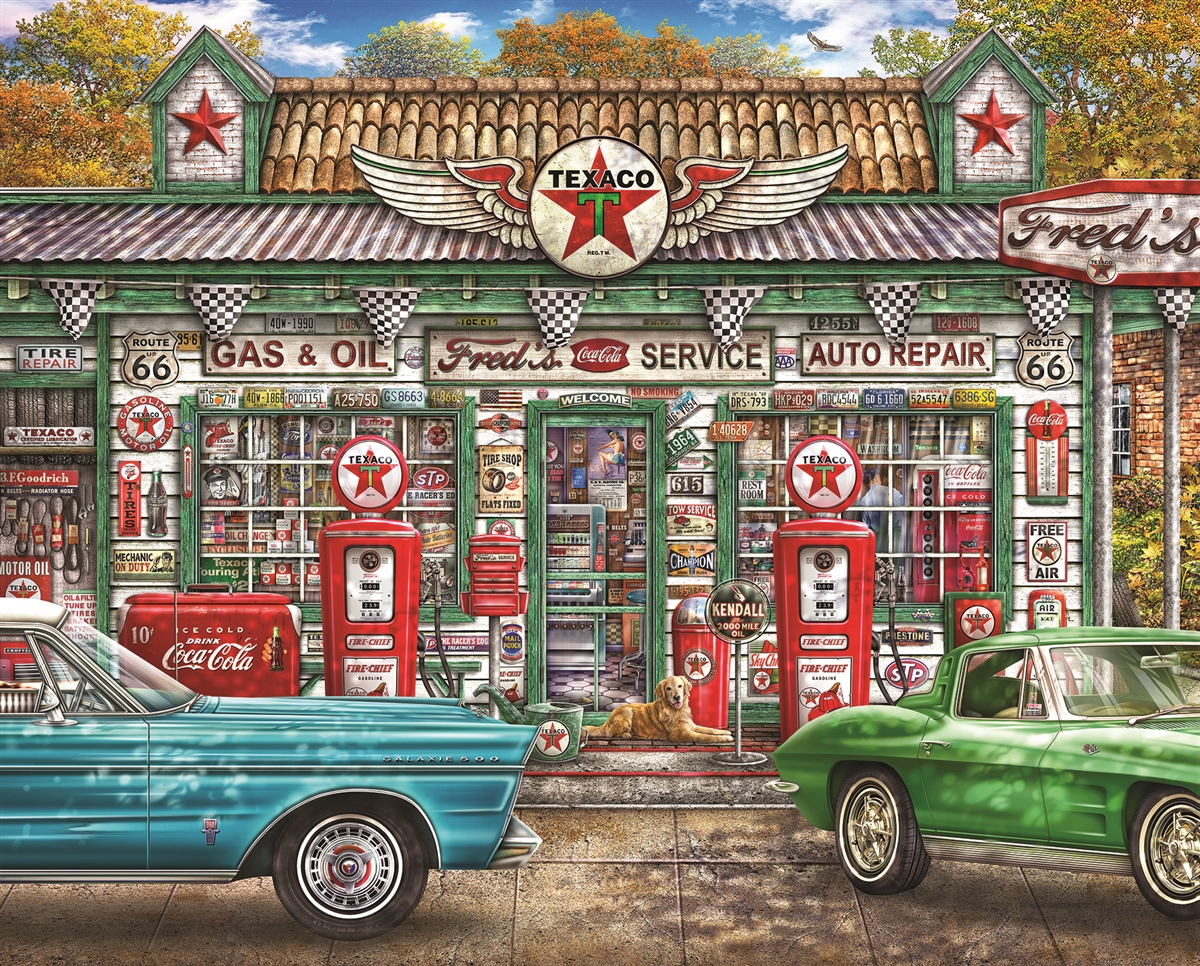 Fred's Service Station - Scratch and Dent Nostalgic / Retro Jigsaw Puzzle
