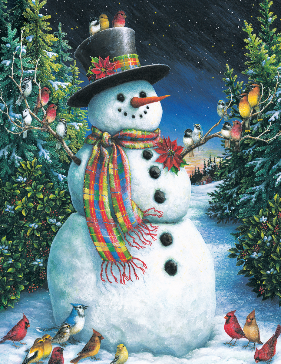 Feathered Friends Snowman Jigsaw Puzzle
