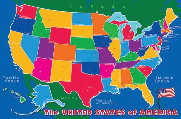Crayola Chalk Usa Map Scratch And Dent Floor Puzzle - Giant-us-map