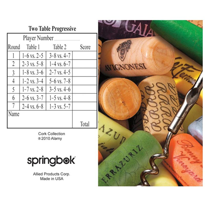 Bridge Tally Sheet - Cork Collection Food and Drink Playing Cards