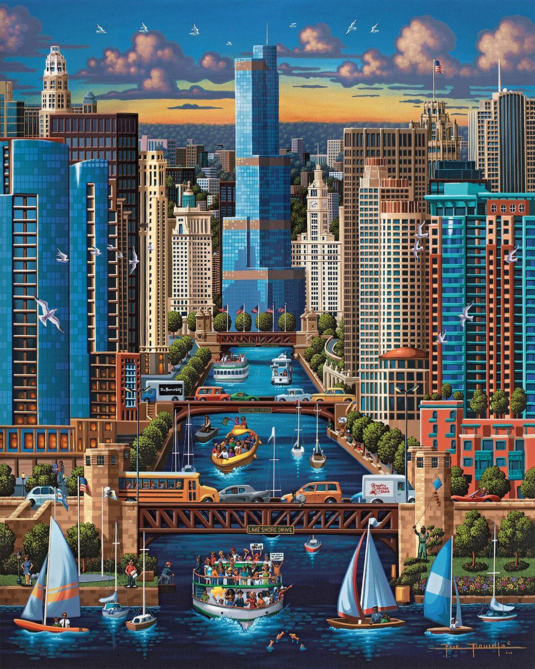 Chicago River Skyline / Cityscape Jigsaw Puzzle