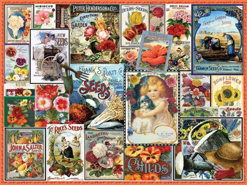 Vintage Flower Seeds Flowers Jigsaw Puzzle