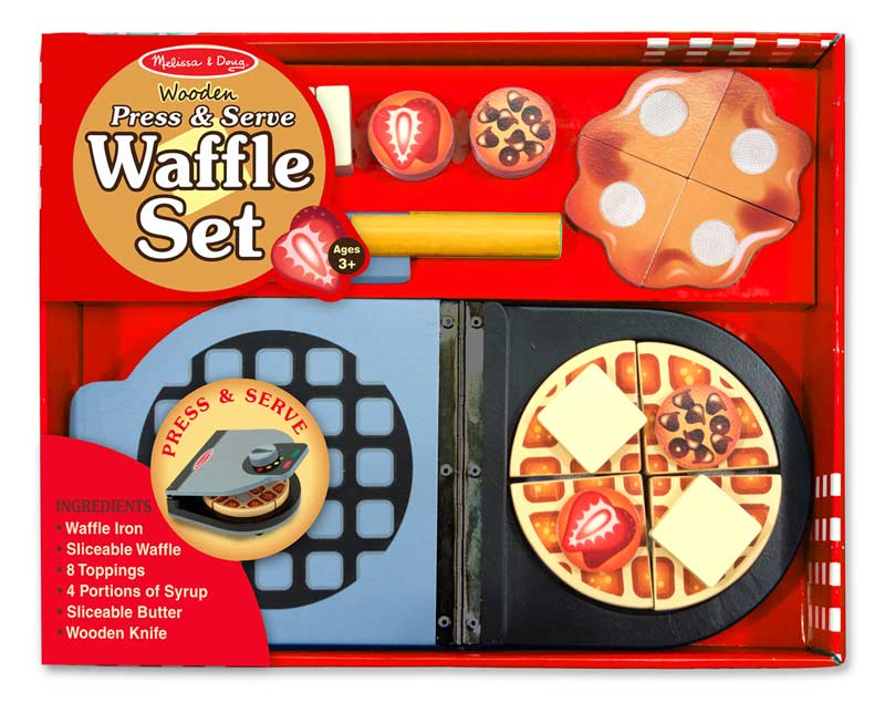 Wooden Press & Serve Waffle Set Food and Drink