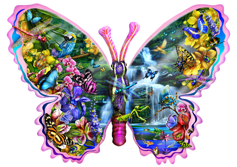 Butterfly Waterfall - Scratch and Dent Butterflies and Insects Shaped Puzzle