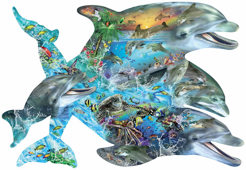 Song of the Dolphins Under The Sea Shaped Puzzle