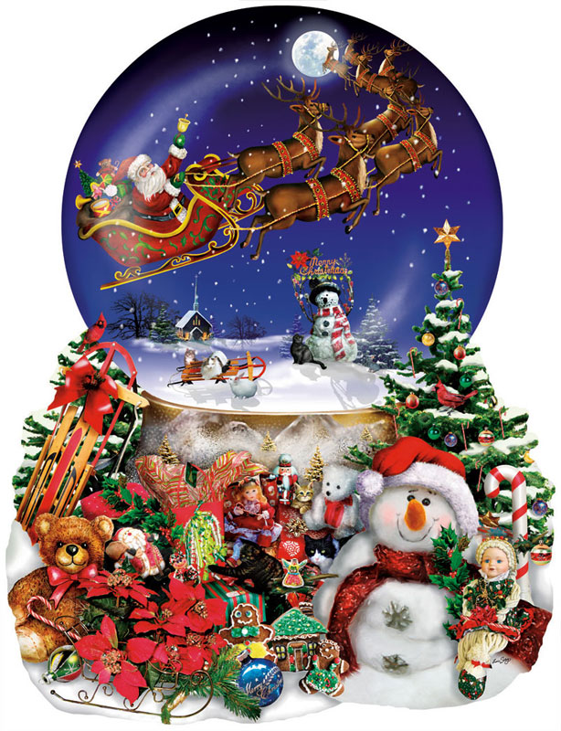 Santa's Snowy Ride Snowman Shaped Puzzle