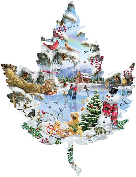 Winter on the Lake Winter Shaped Puzzle