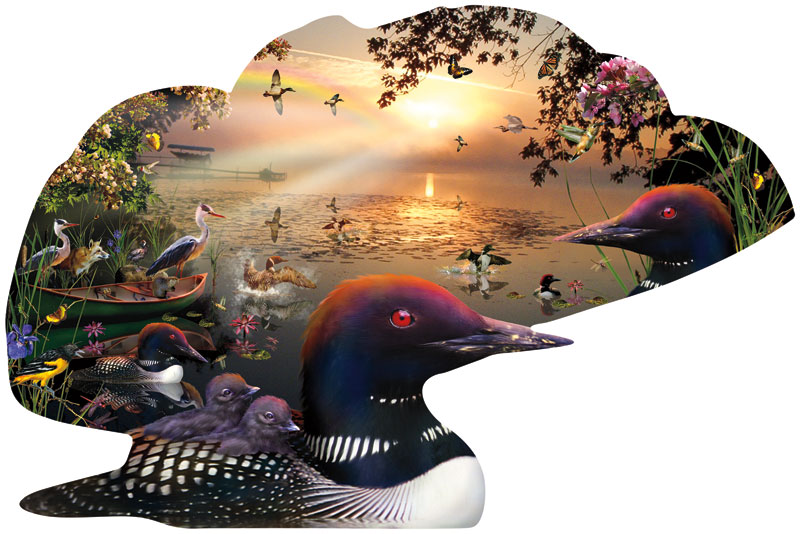 Loons at Sunrise Birds Jigsaw Puzzle
