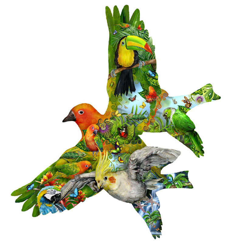 Tropical Song Birds Jigsaw Puzzle