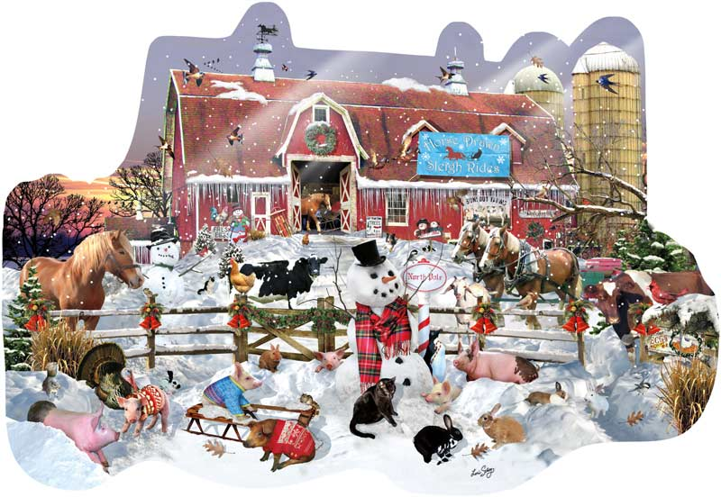 Winter Snowfall Farm Animals Jigsaw Puzzle
