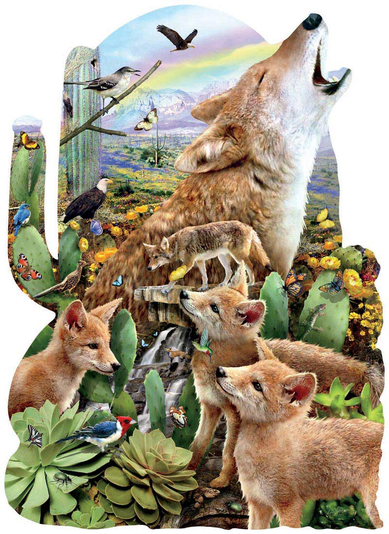 Coyote Moon Collage Jigsaw Puzzle