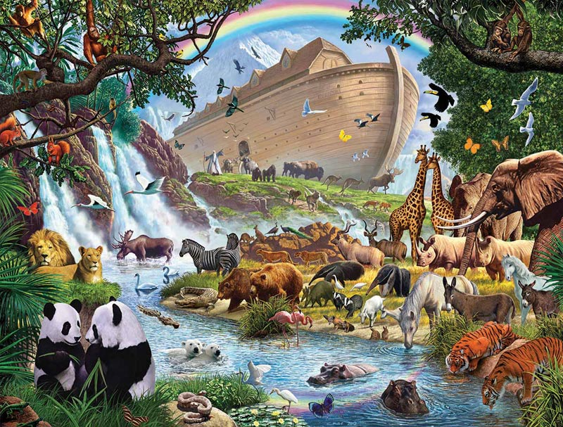 Noah S Ark Jigsaw Puzzle Puzzlewarehouse Com Noah S Ark While Animals Are Going To The Ark Drawing With Color