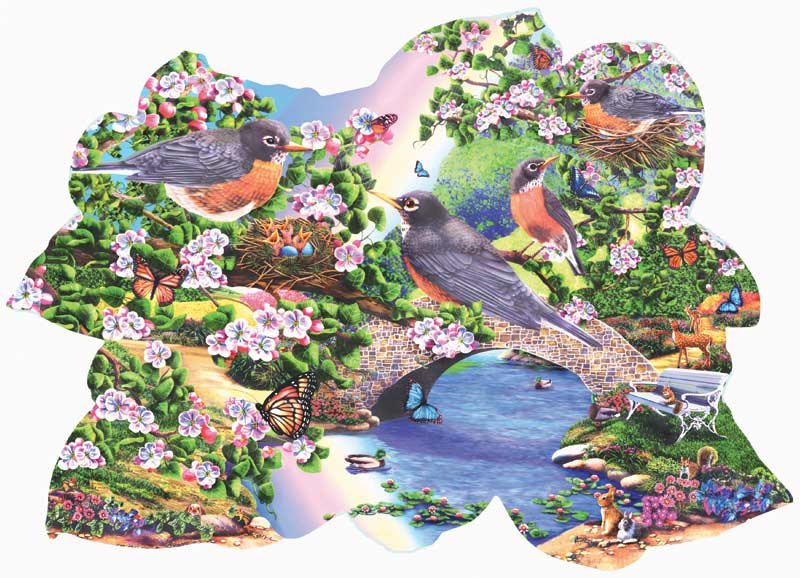 Robins in the Park Birds Jigsaw Puzzle
