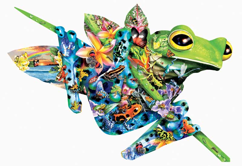 Paradise Frogs - Scratch and Dent Reptiles / Amphibians Shaped Puzzle