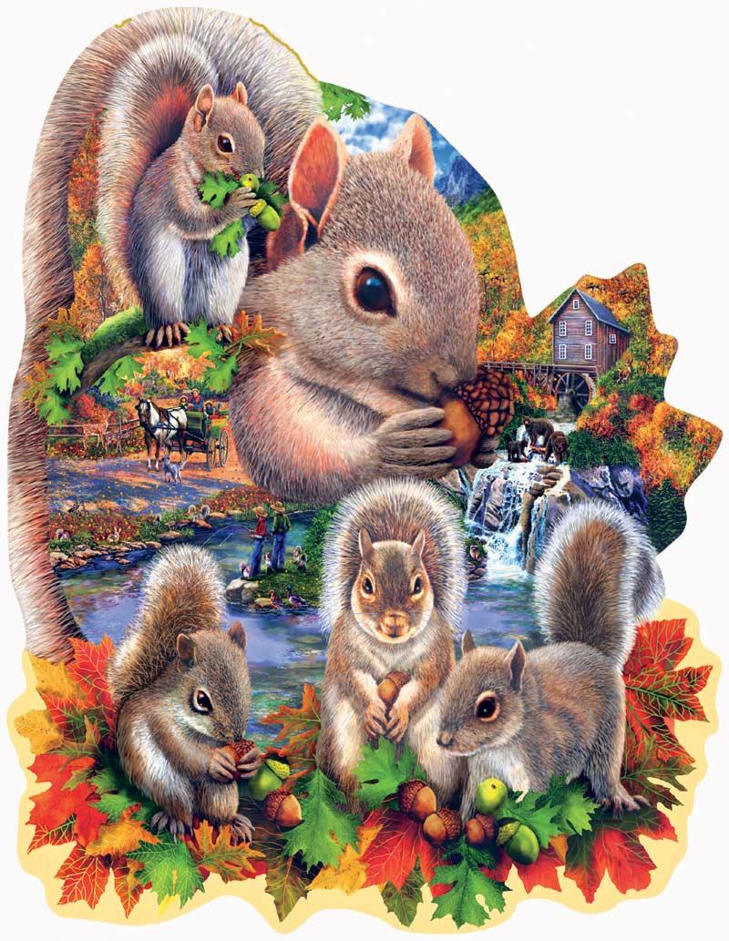 Autumn Squirrels Wildlife Shaped Puzzle