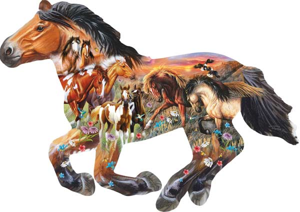 Pasture Sunset Horses Shaped Puzzle