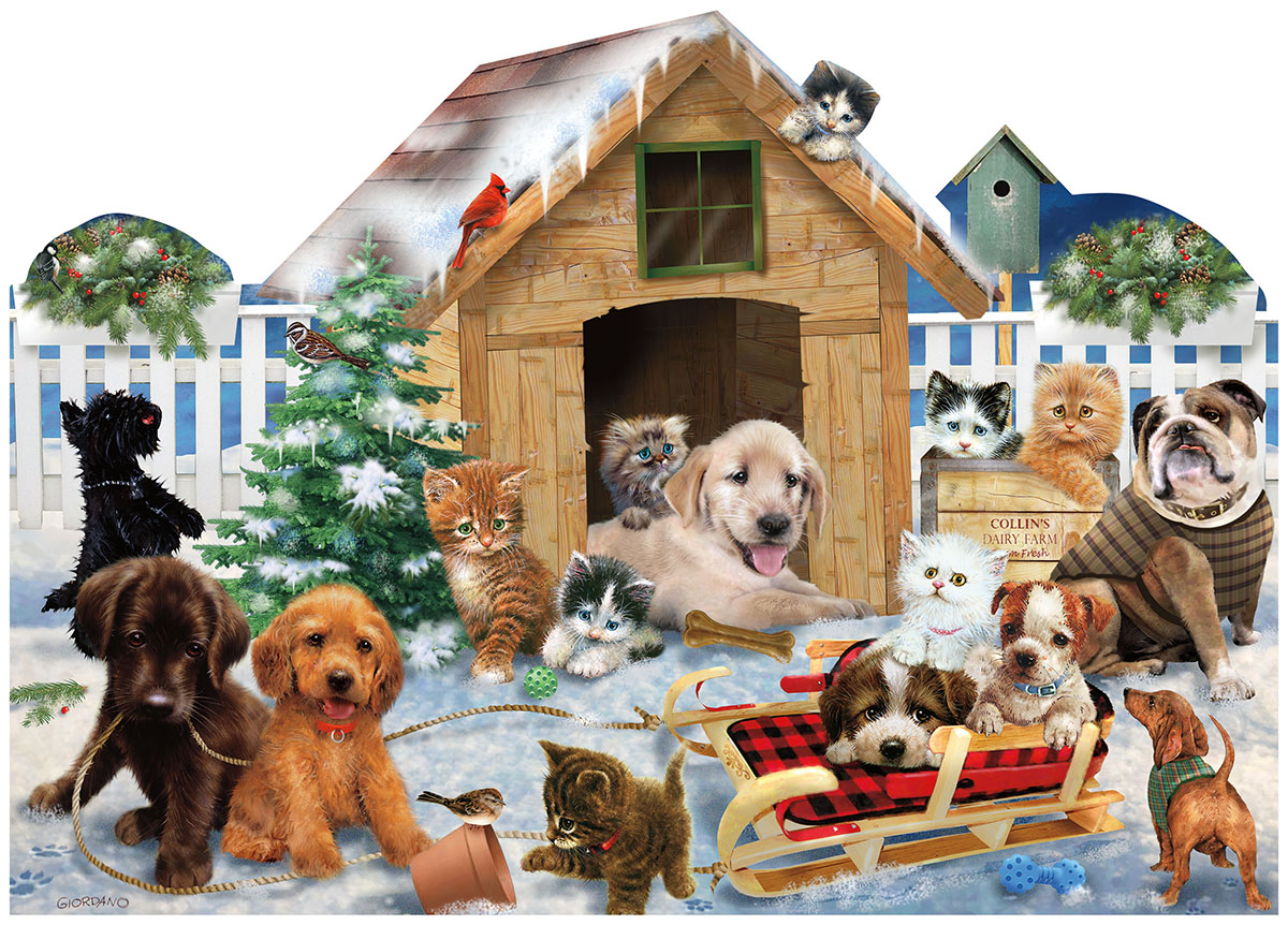 Playing in the Snow Cats Jigsaw Puzzle