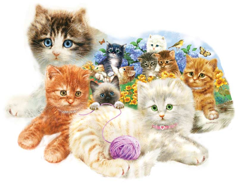 A Litter of Kittens Cats Shaped Puzzle
