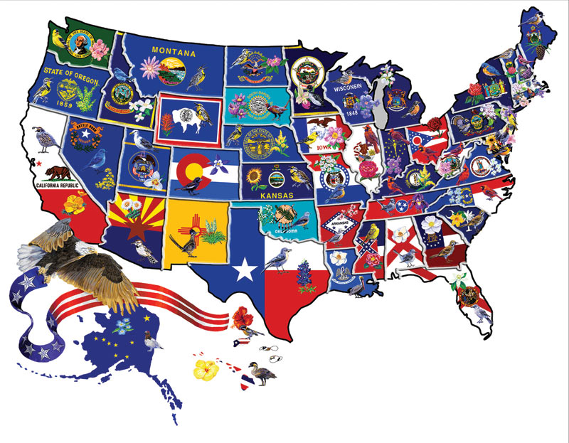 America the Beautiful Birds Shaped Puzzle