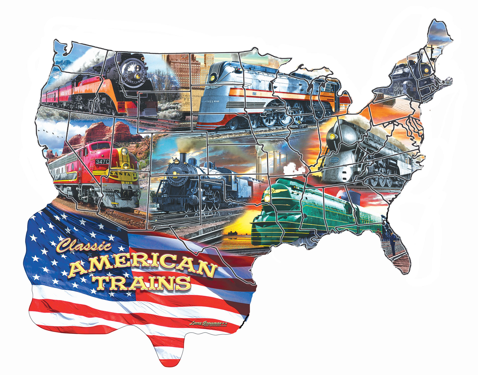 Classic American Trains - Scratch and Dent Trains Shaped Puzzle