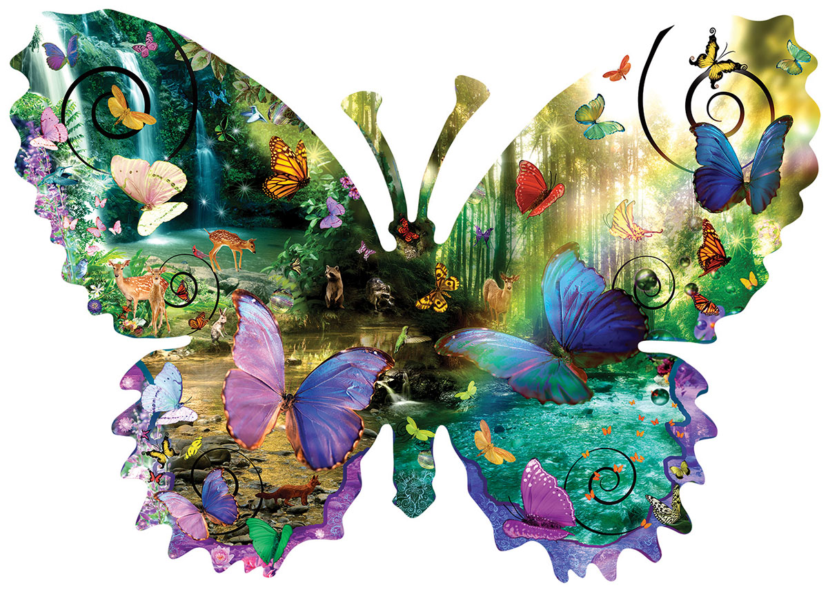 Forest Butterfly Butterflies and Insects Shaped Puzzle