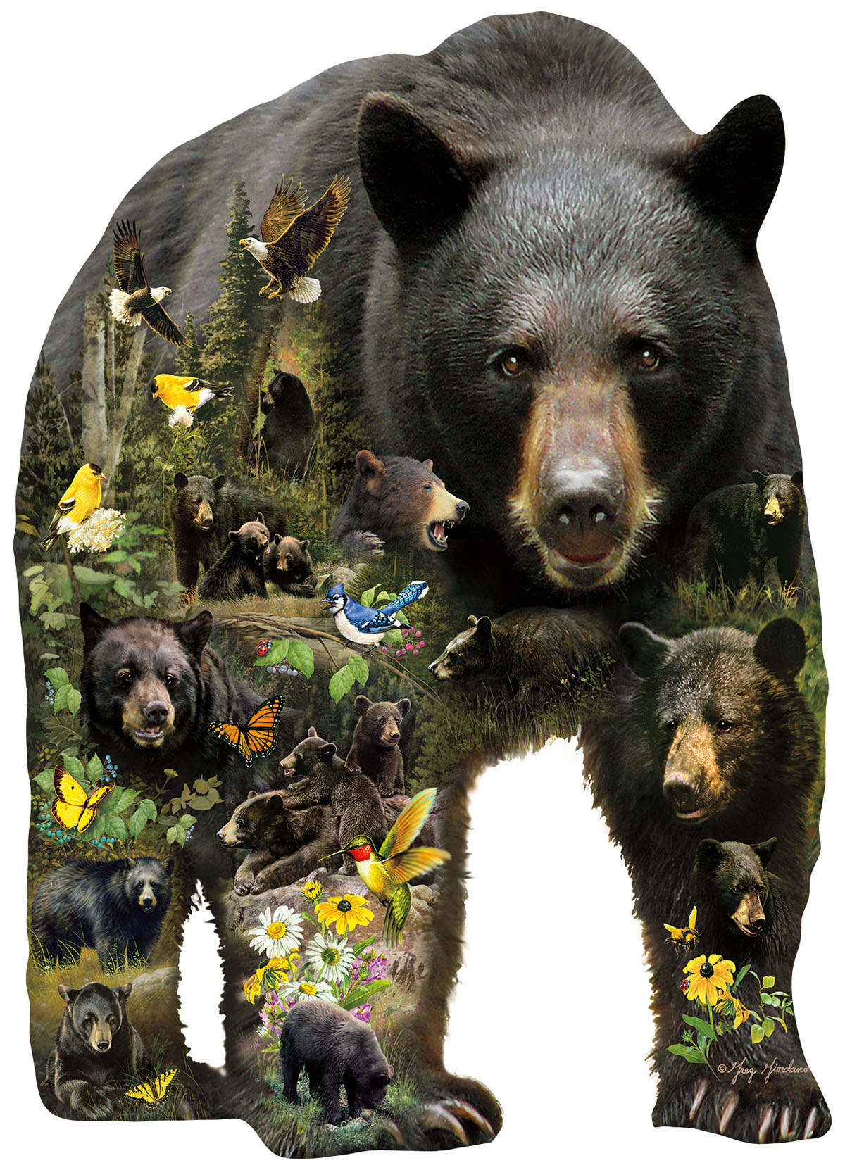 Forest Bear Birds Shaped Puzzle