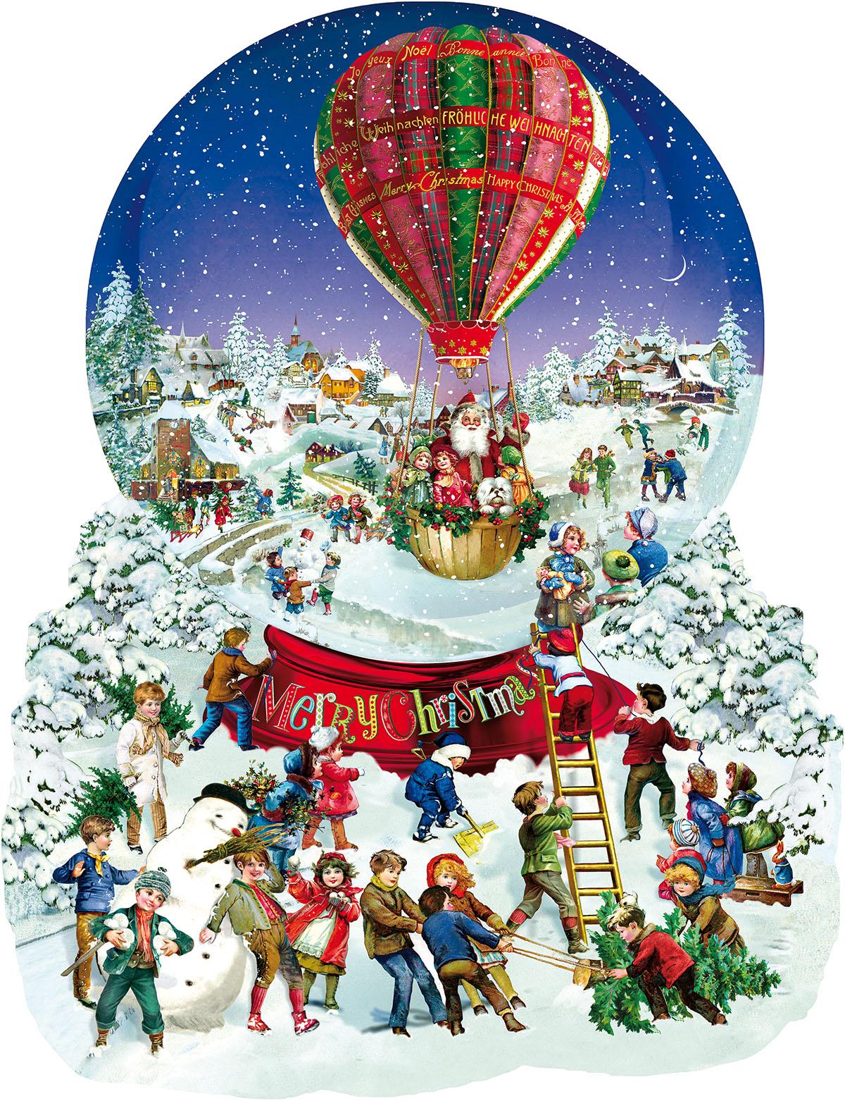 Old Fashioned Snow Globe Santa Shaped Puzzle